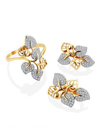 Floral Design Gold Crystal Earrings, image , picture 3