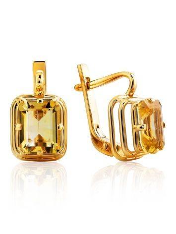 Geometric Design Gold Citrine Earrings, image