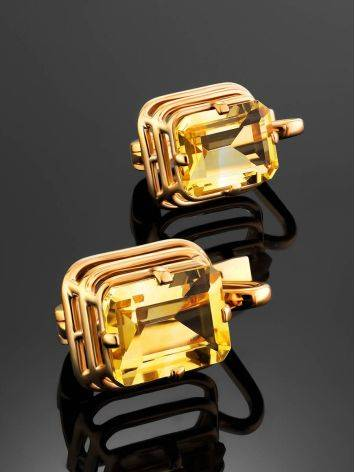 Geometric Design Gold Citrine Earrings, image , picture 2