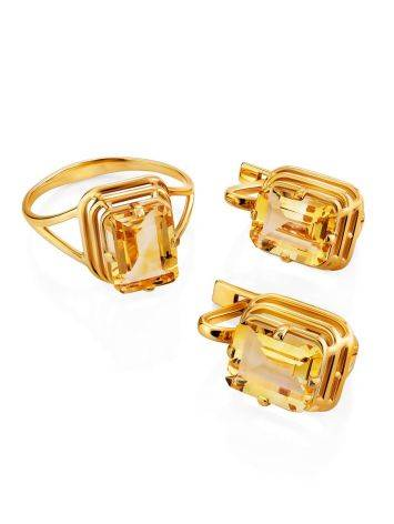 Geometric Design Gold Citrine Earrings, image , picture 3