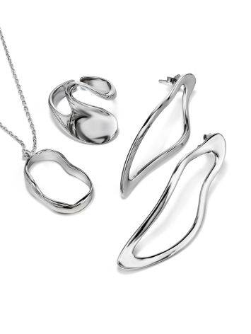 Abstract Hammered Silver Necklace The Liquid, image , picture 4