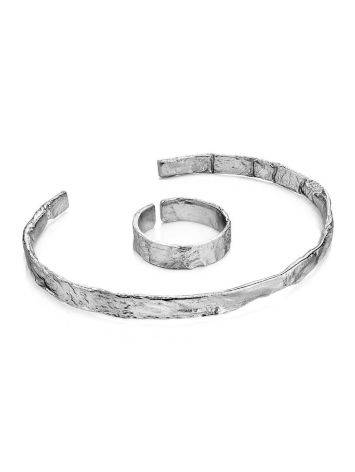 Hammered Silver Bangle Bracelet The Liquid, image , picture 6