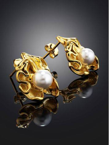 Gold Plated Silver Studs With Pearl The Palazzo, image , picture 2