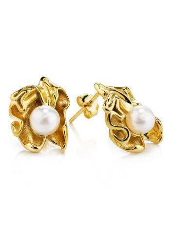 Gold Plated Silver Studs With Pearl The Palazzo, image