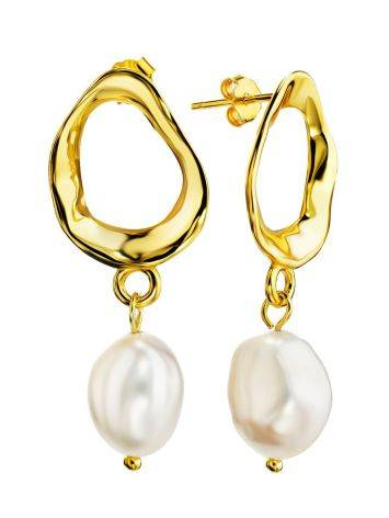 Pearl Drop Earrings in Hammered 18ct Gold on Sterling Silver The Palazzo, image