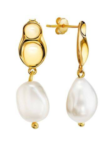 18ct Gold on Sterling Silver Hammered Dangles with Pearl The Palazzo, image