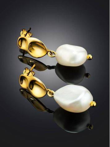 18ct Gold on Sterling Silver Hammered Dangles with Pearl The Palazzo, image , picture 2