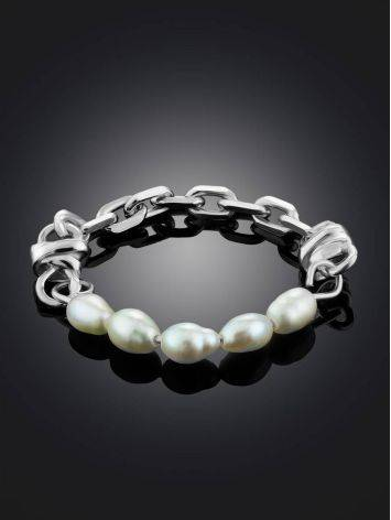 Link Band Silver Ring With Pearl The Palazzo, Ring Size: 6 / 16.5, image , picture 2