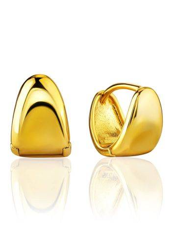 Glossy Gold Plated Silver Huggies The ICONIC, image