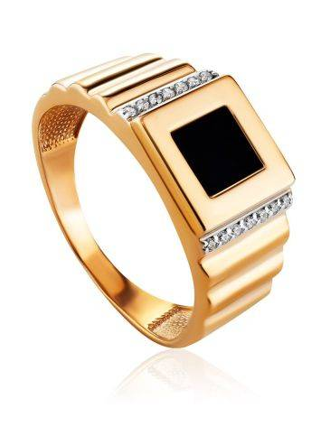 Geometric Golden Signet Ring With Crystals, Ring Size: 11.5 / 21, image