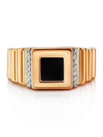 Geometric Golden Signet Ring With Crystals, Ring Size: 11.5 / 21, image , picture 3