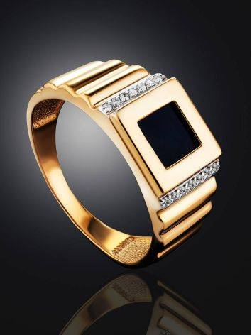 Geometric Golden Signet Ring With Crystals, Ring Size: 11.5 / 21, image , picture 2