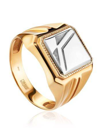 Bold Two Tone Gold Signet Ring, Ring Size: 9.5 / 19.5, image