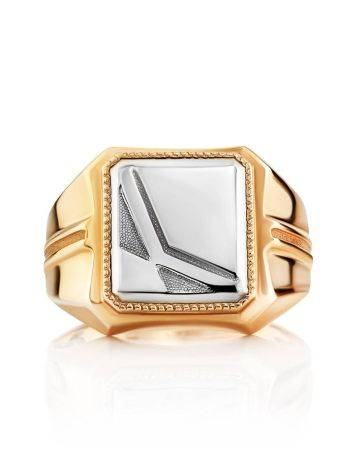 Bold Two Tone Gold Signet Ring, Ring Size: 9.5 / 19.5, image , picture 3