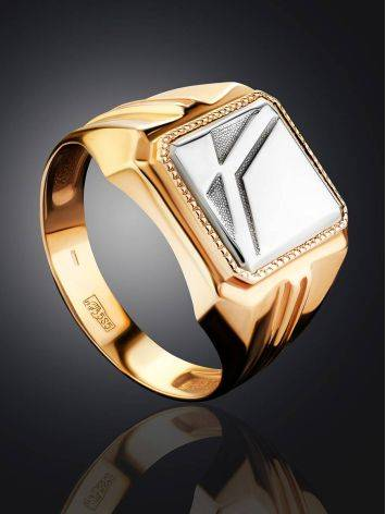 Bold Two Tone Gold Signet Ring, Ring Size: 9.5 / 19.5, image , picture 2