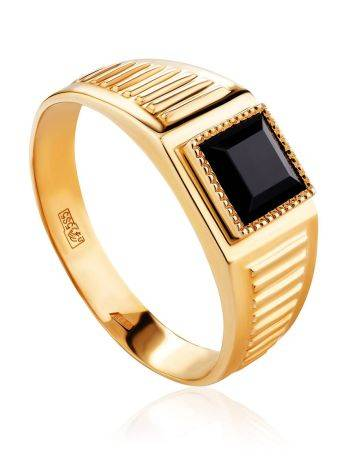 Unisex Golden Signet Ring With Dark Nano Spinel, Ring Size: 12 / 21.5, image