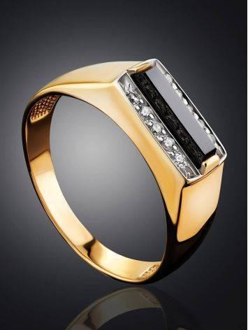 Stylish Unisex Gold Onyx Ring, Ring Size: 10 / 20, image , picture 2