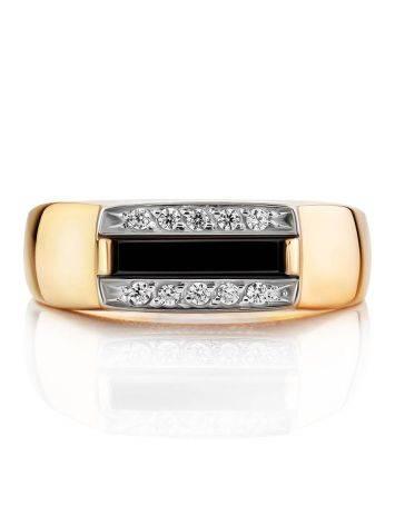 Stylish Unisex Gold Onyx Ring, Ring Size: 10 / 20, image , picture 3
