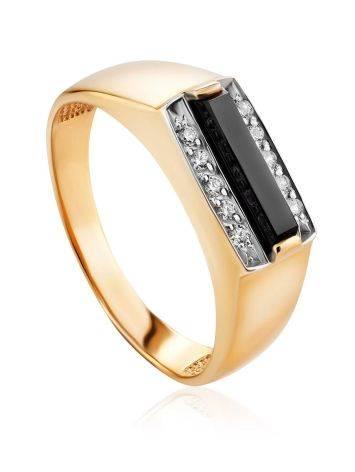 Stylish Unisex Gold Onyx Ring, Ring Size: 10 / 20, image