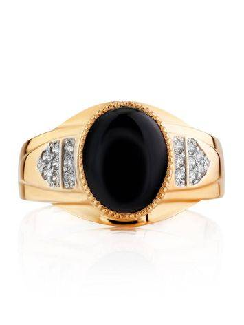 Fabulous Unisex Gold Ring With Crystals, Ring Size: 12 / 21.5, image , picture 3