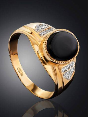 Fabulous Unisex Gold Ring With Crystals, Ring Size: 12 / 21.5, image , picture 2