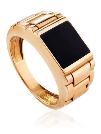 Unisex Gold Ring With Black Enamel, Ring Size: 10 / 20, image