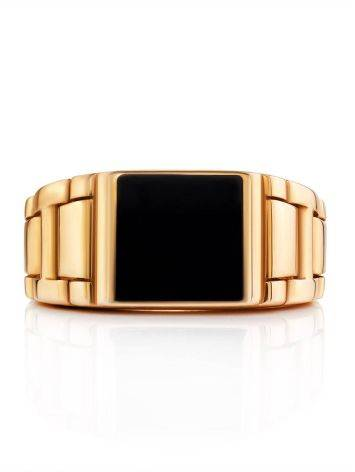 Unisex Gold Ring With Black Enamel, Ring Size: 10 / 20, image , picture 3