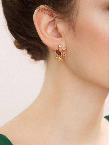 Floral Design Golden Earrings With Multicolor Crystals The Verbena, image , picture 3