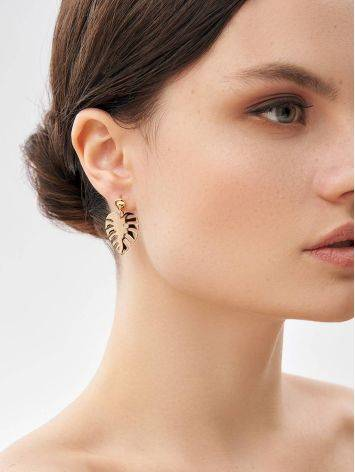 Palm Leaf Motif Gold Earrings, image , picture 4
