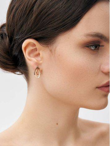 Classy Golden Earrings In Interwoven Design, image , picture 4