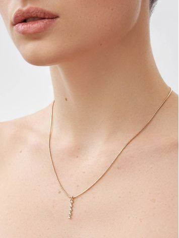 Refined Golden Necklace With Elongated Diamond Pendant, image , picture 3