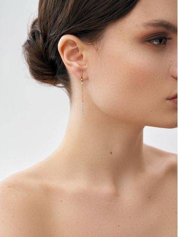 Diamond Earrings With Golden Chain Dangles, image , picture 3