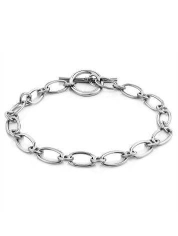 Minimalist Silver Chain T-Bar Bracelet The ICONIC, image