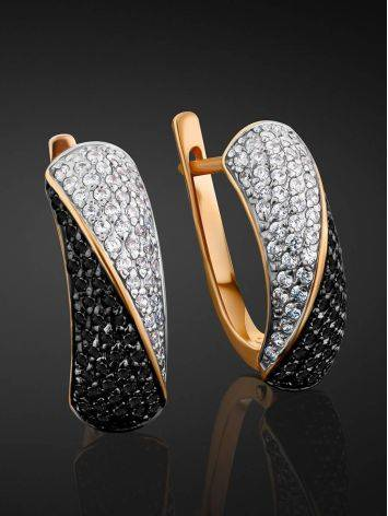 Black And White Crystal Earrings In Gold, image , picture 2