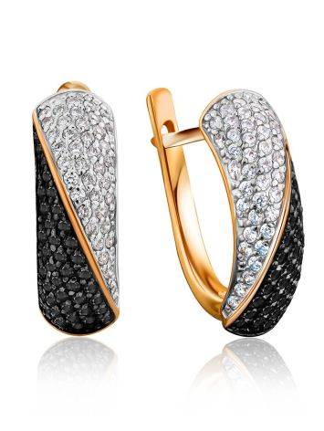 Black And White Crystal Earrings In Gold, image