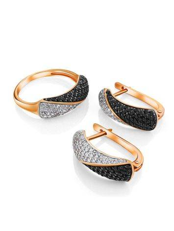 Black And White Crystal Earrings In Gold, image , picture 3