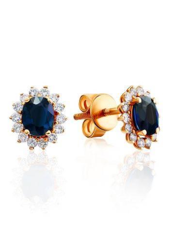 Diamond Sapphire Golden Stud Earrings, image