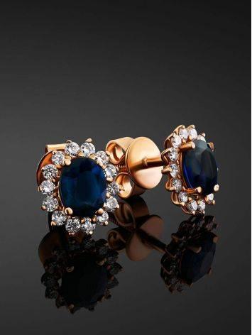 Diamond Sapphire Golden Stud Earrings, image , picture 2