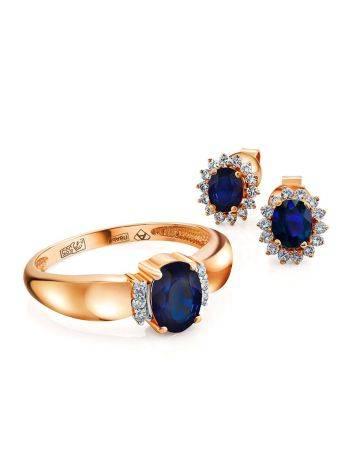 Diamond Sapphire Golden Stud Earrings, image , picture 3