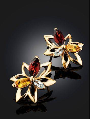 Floral Design Golden Earrings With Multicolor Crystals The Verbena, image , picture 2