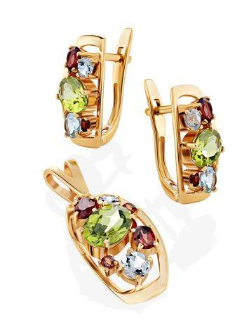 Golden Earrings With Bright Multicolor Stones, image , picture 3