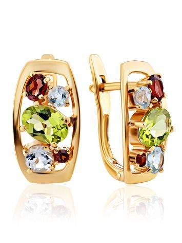 Golden Earrings With Bright Multicolor Stones, image