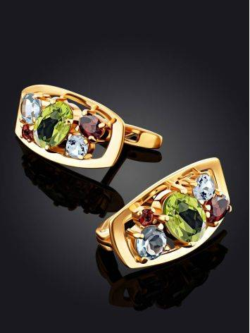 Golden Earrings With Bright Multicolor Stones, image , picture 2