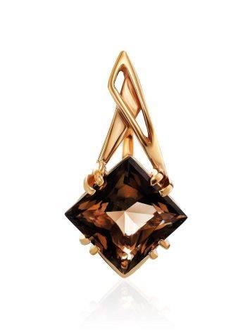 Geometric Golden Pendant With Smoky Quartz Centerstone, image