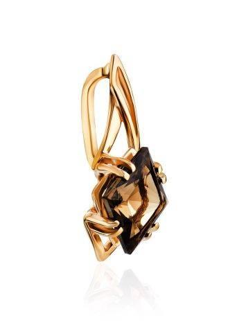 Geometric Golden Pendant With Smoky Quartz Centerstone, image , picture 3