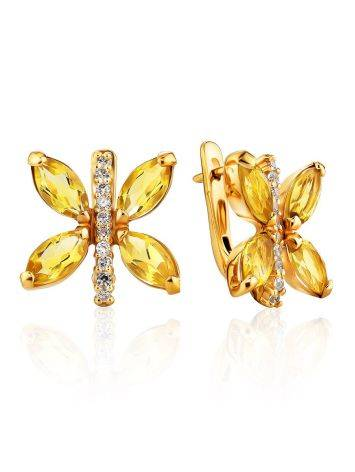 Lustrous Gold Citrine Butterfly Earrings The April, image