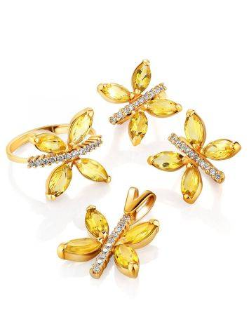 Lustrous Gold Citrine Butterfly Earrings The April, image , picture 4