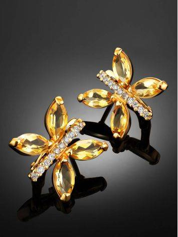 Lustrous Gold Citrine Butterfly Earrings The April, image , picture 2