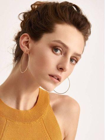 Trendy Golden Hoop Earrings, image , picture 3