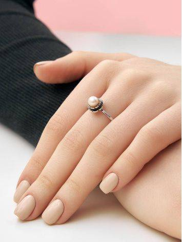 Cute Silver Ring With Mauve Colored Cultured Pearl The Serene, Ring Size: 8 / 18, image , picture 4